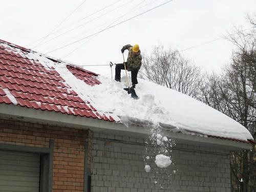как правильно чистить крышу от снега