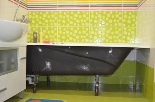 Установка ножек чугунной ванны