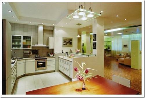 Использование в интерьере кухни точечных светильников