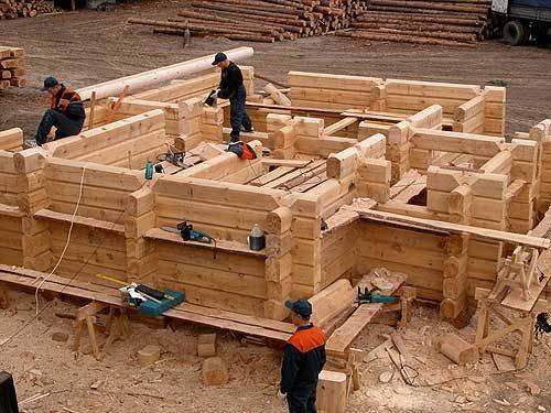 сборка деревянного дома