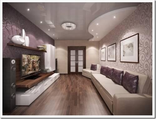 Натяжной многоуровневый потолок в гостиную